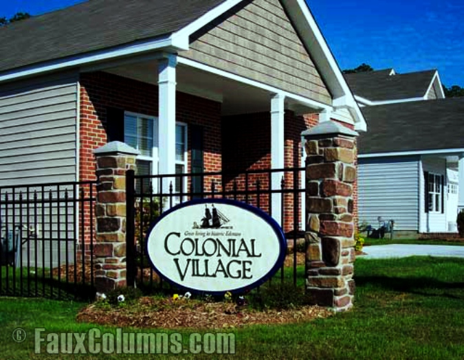 Outdoor business signs upgraded with decorative columns attract more customers.