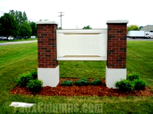 Outdoor business signs always look better with faux brick decorative columns.
