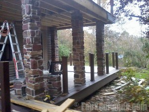 Craftsman style porch with Ashford faux River Rock columns.