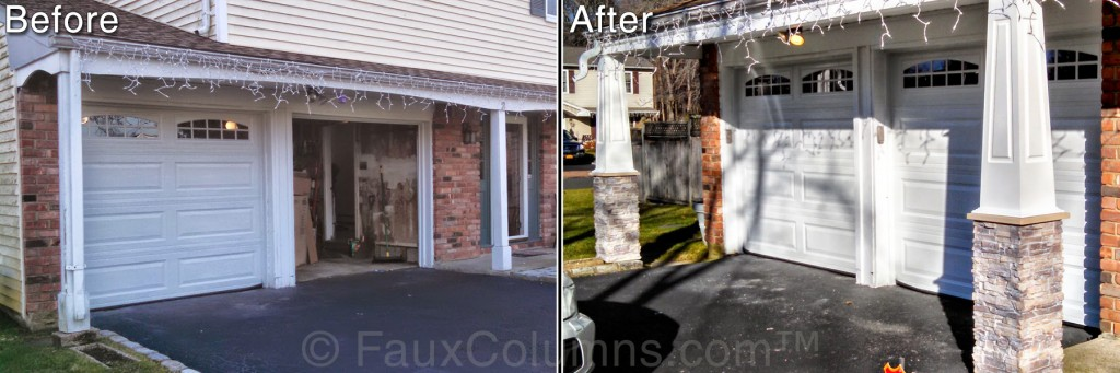 Before and after photo of home garage with stacked stone pillars installed.