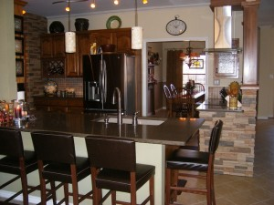 Kitchen with Faux Stone Interior Paneling