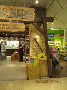 Faux rock panels accent the new Astro Kids store display at FAO Schwarz in New York City.