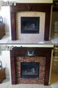 Creating a beautiful faux stone fireplace is as easy as choosing your favorite color scheme, ordering fire rated panels, and then using some glue and screw to finish the job.