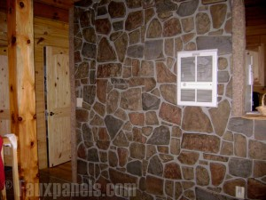 Faux fieldstone accent walls look so realistic that most people won't believe that they aren't made from actual fieldstone masonry.
