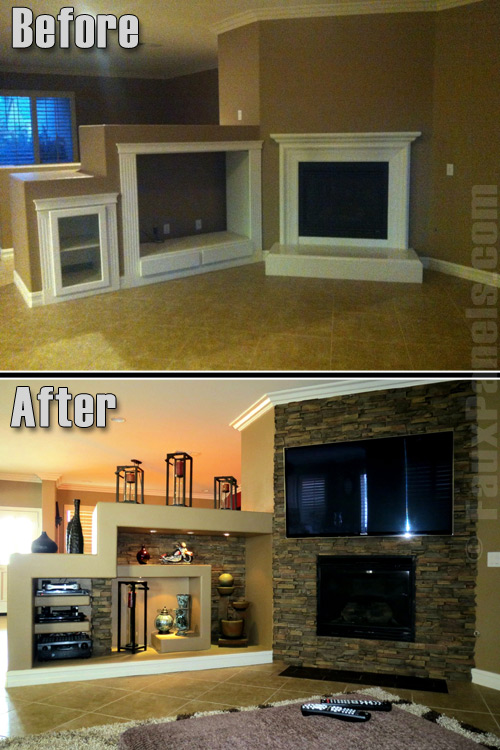 Before and after of fireplace and shelving unit remodeled with Wellington Drystack panels.