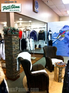 Support column at Peter Glenn Ski & Sports store, covered with Drystack panels.