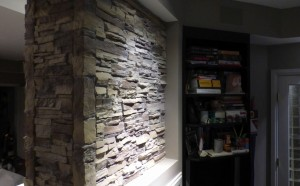 Artificial stacked stone panels look indistiguishable from the real thing.