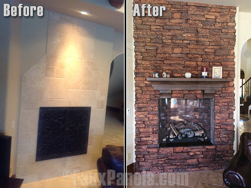 Before and after photo of fireplace remodeled with a ledgestone background
