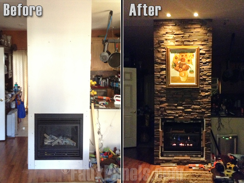 Before and after photo of fireplace with new surround