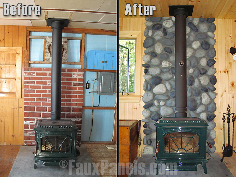 Before and after photo of a captivating fireplace surround built with River Rock panels.