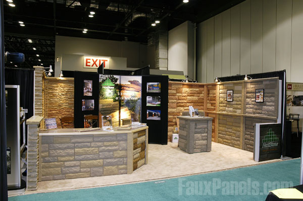Trade show booth covered in Windsor Random Rock panels