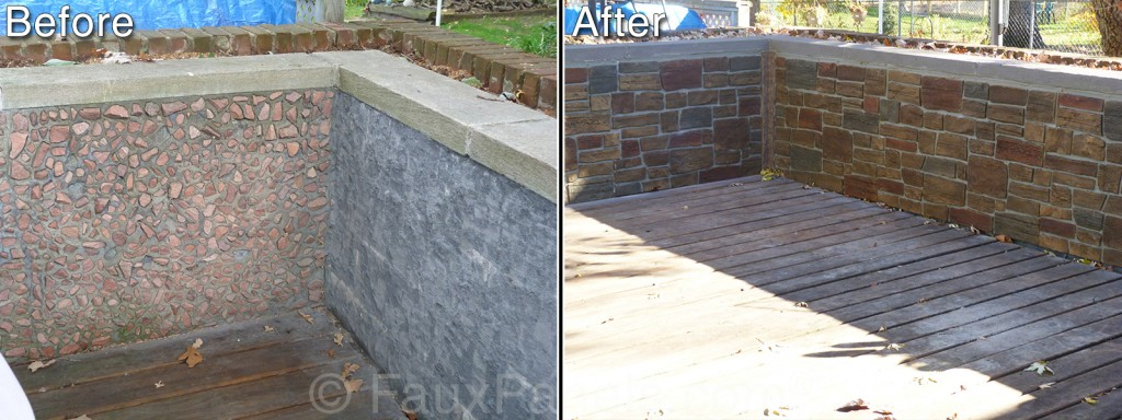 Before and after pictures of an exterior half wall renovated with ledgestone paneling.