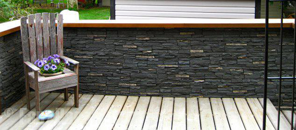 A deck's half wall upgraded with Windsor Slatestone panels