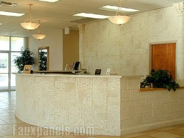 Reception area ideas are easy to bring to life with Norwich Coral Stone fake panels.