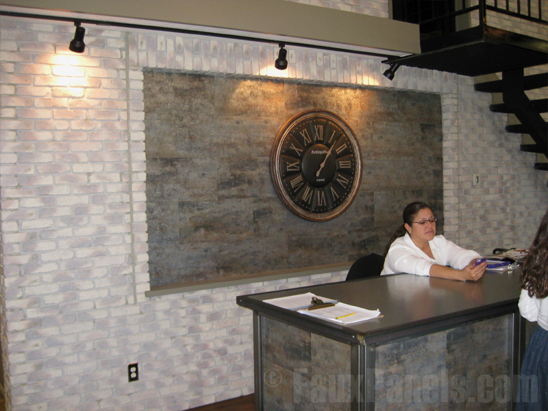 Bring your reception area desk ideas to life with Old Chicago Brick panels.