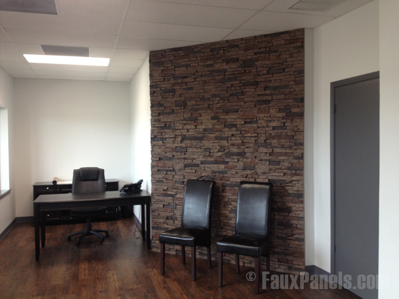 Fake stacked stone accent walls make appealing reception area ideas.