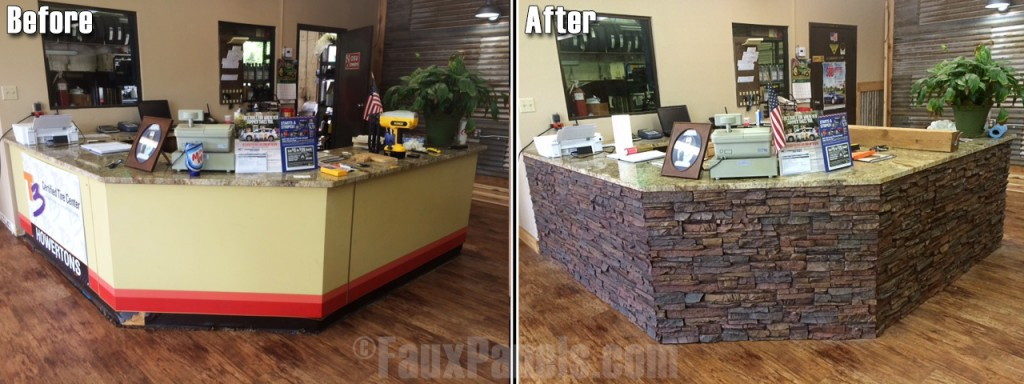 Reception area ideas can be realized quickly with faux stacked stone panels.