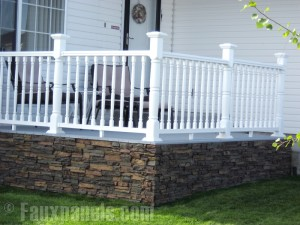 A wrap-around porch can also benefit from the faux panels treatment.