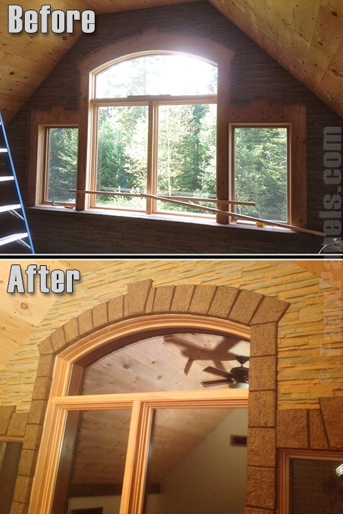 Before and after photo of faux keystone trim blocks added to a room's windows
