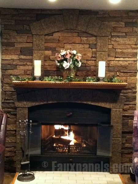 Fireplace with keystone and trim block accents