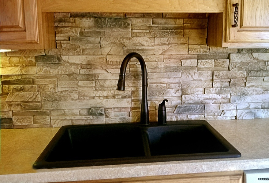 Kitchen backsplash made from faux drystack stone panels