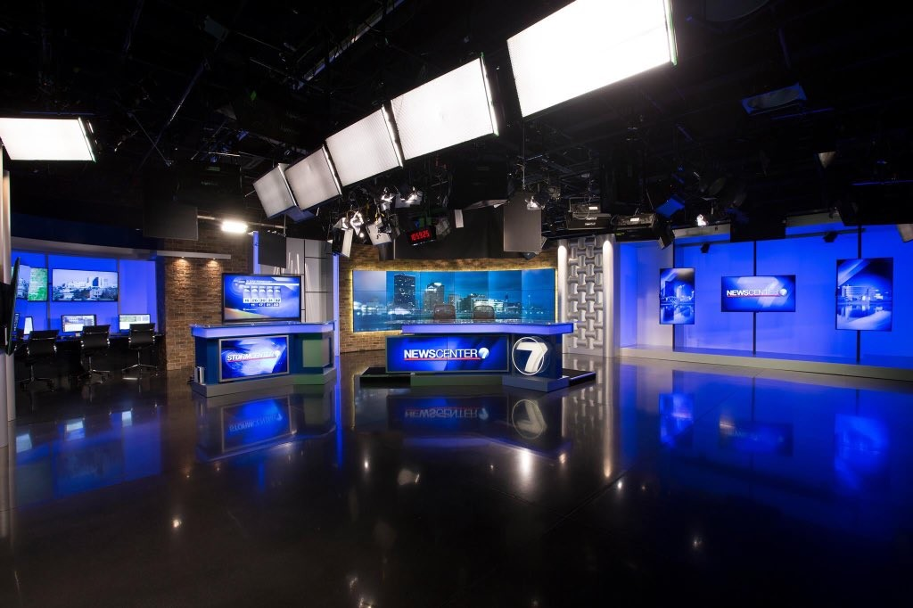 Faux brick panels are an integral part of the newsroom set remodeled for WHIO-TV in Dayton, Ohio