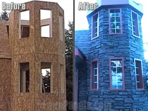 Before and after photo of turret shaped home exterior sided with polyurethane panels.