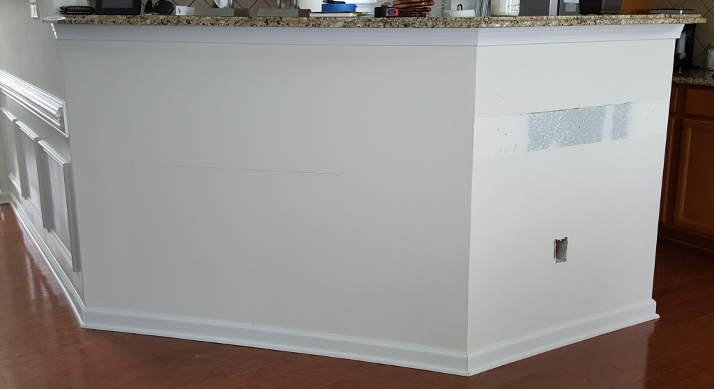 Before - this breakfast bar was made from regular framed drywall.