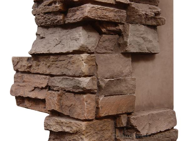 Stacked Stone style wall corner trim made from polyurethane.