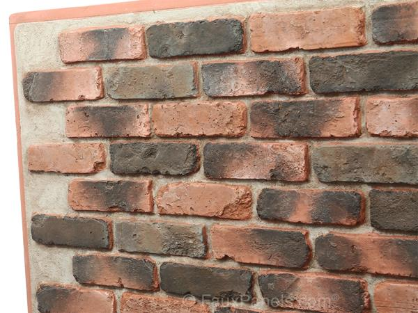 Brick veneer panel, close-up view to show realistic texture.