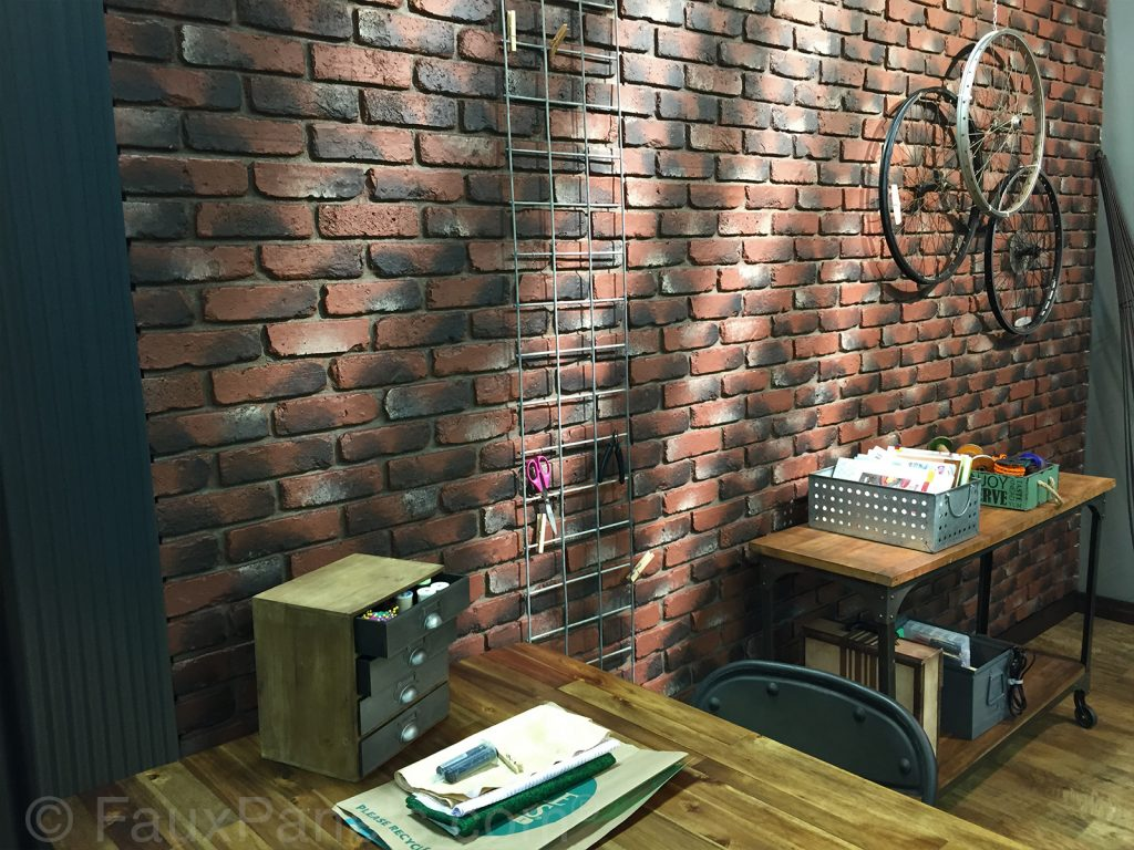 Brick veneer wall created with Old Chicago Brick panels in Antique color.