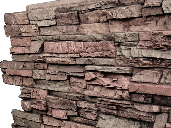 Close up view of Regency Stacked Stone panels in Earth color