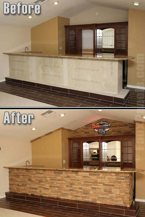 Before and photo of a sports bar finished with Colorado Stacked Stone Tall Desert Sand panels and ledgers.