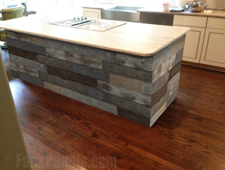 Kitchen island resurfaced with faux shiplap board panels.
