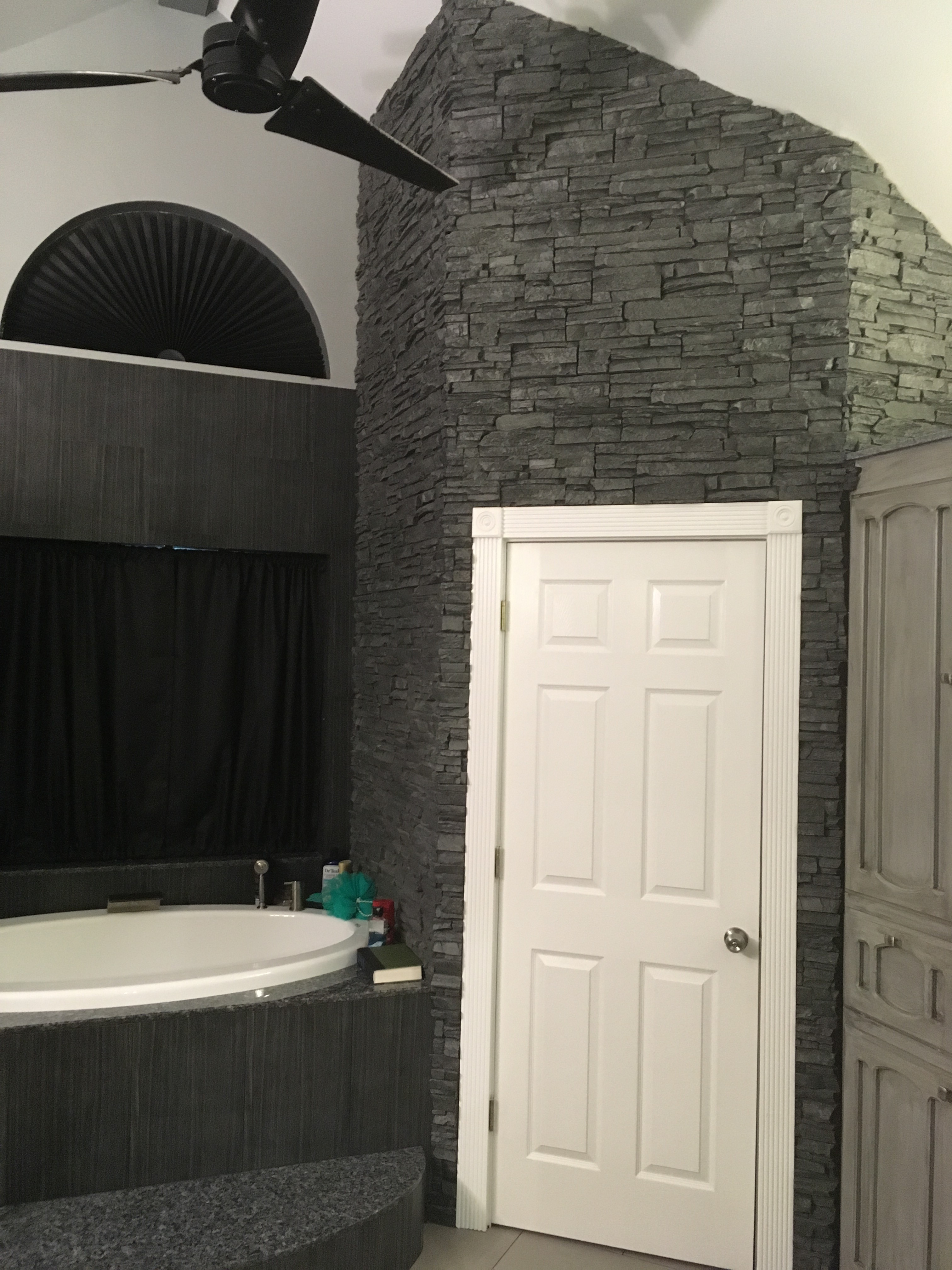 stacked stone bathroom wall adds luxurious style  barron