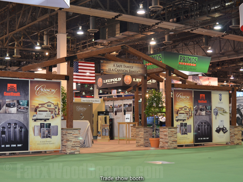 Hollow beams give a trade show display beautiful wood style without the weight.