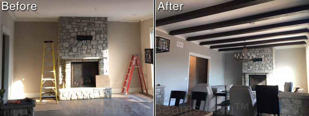 Living room before and after, with rustic exposed beams added to the ceiling.