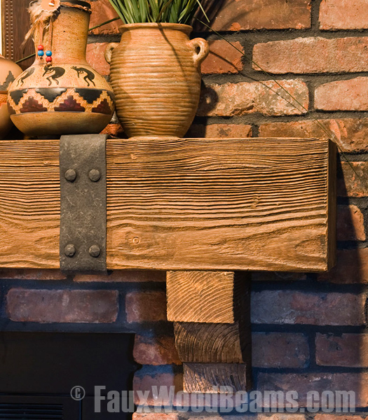 Close-up view of a faux wood mantel.