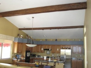 Faux timber beams installed in DIY home improvement project