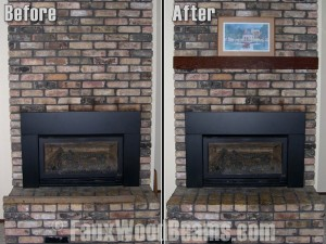 The simple addition of a faux wood fireplace can really make a big difference to your design without costing a ton.
