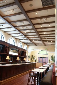 Custom Aspen faux ceiling beams line the restaurant and add a wonderfully sophisticated touch.