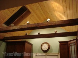 Installing lights, whether recessed or track lighting, on a faux wood beam is deceptively simple with a great finished look.
