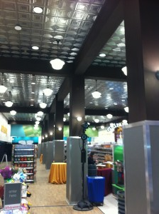 Faux beams, metail ceiling tiles and modern convenience blend together to create an amazing Flasg Ship store.