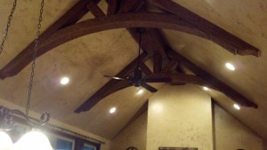 Creating such an amazing and realistic look truss design is simple when using faux wood beams.