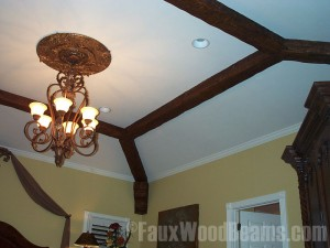 Enhancing a beadroom's coffered ceiling with realistic looking beams.