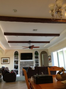 Alcove ceiling in a Florida home's living room gets a fresh new look with Timber beams.