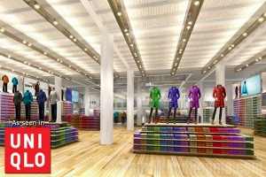 Uniqlo's flagship store in Union Square, San Francisco uses synthetic wood beams.