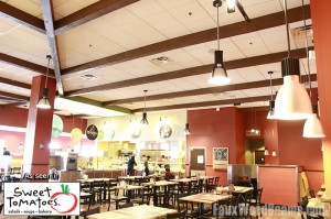 Faux beam restaurant interior design at Sweet Tomatoes, Miami Florida.