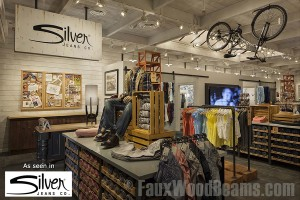Silver Jeans Co store at Woodlands, Texas made great use of artificial ceiling beams.
