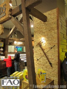 Faux wood beams evoke an Old West style for FAO Schwarz
